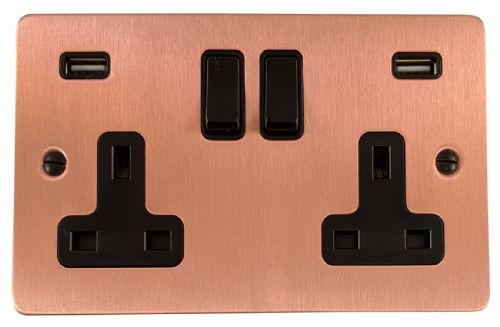 G&H FRG910B Flat Plate Rose Gold 2 Gang Double 13A Switched Plug Socket 2.1A USB